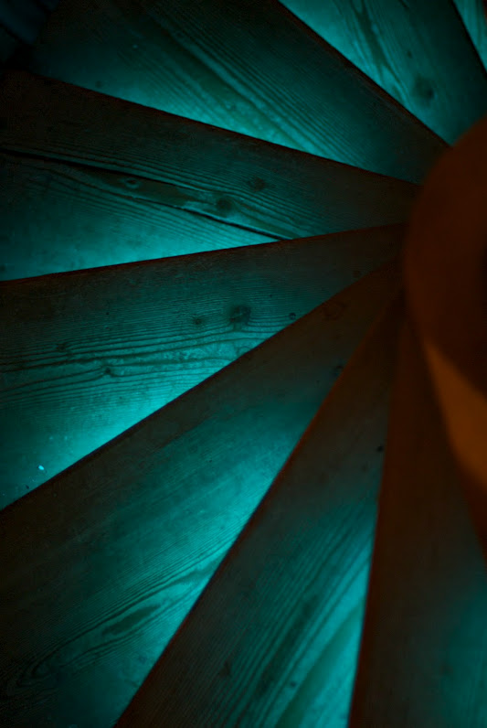 Blue lighted staircase using Light Tape®
