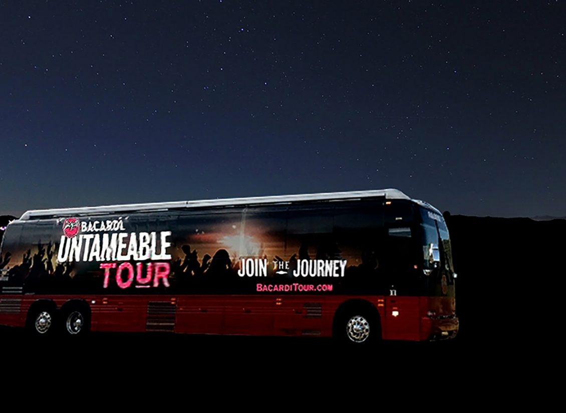 """Light Tape® lighted bus wrap used to advertise the """"Barcardi Untameable Tour"""""""
