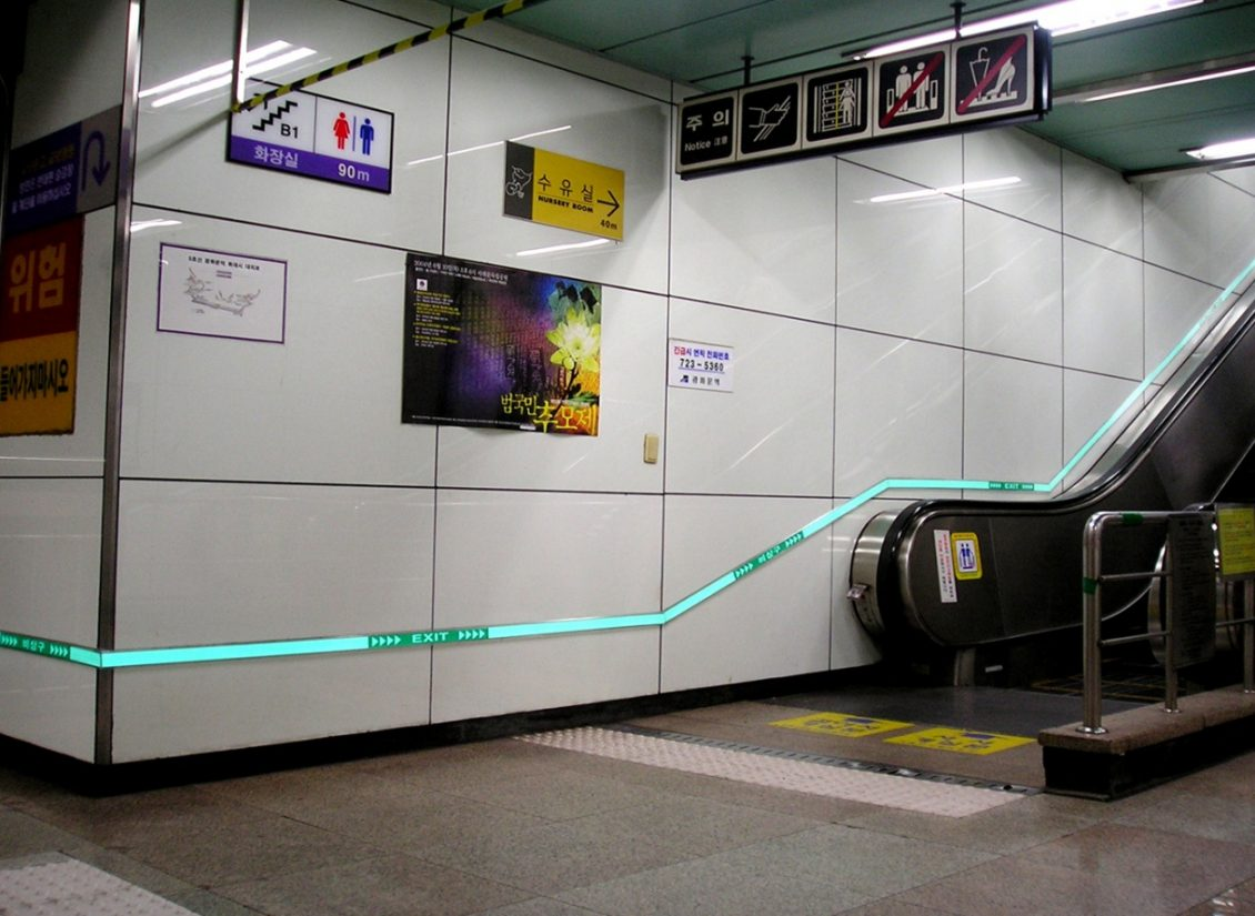 Blue Light Tape® lights a city subway egress above the escalator