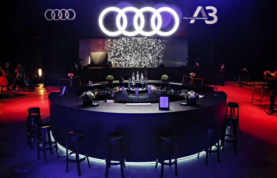 White Light Tape® provides accent lighting for the bar and overhead logo for Audi sponsored bar at an event
